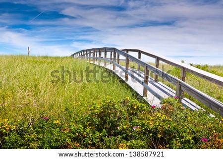 A landscape of Sandwich, MA historic boardwalk. - stock photo