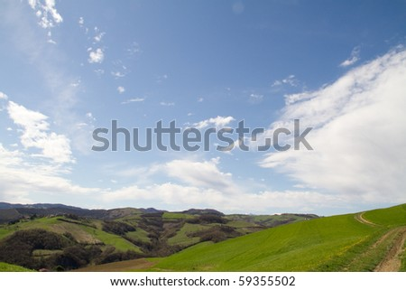 A landscape of the hills near Florence in Italy - stock photo