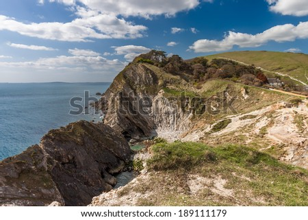 A landscape of the Jurassic coastline in Dorset England. - stock photo