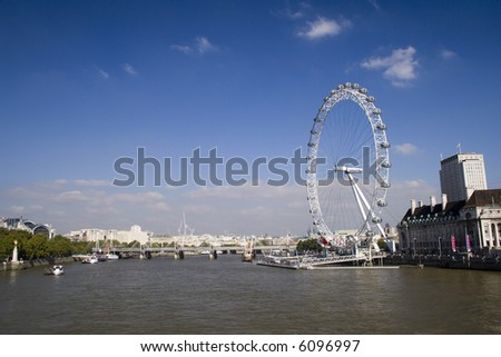 a landscape of the London Eye attraction - stock photo