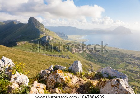 A landscape of the Monte Cofano nature park seen from the Monte Monaco near San Vito Lo Capo in northern Sicily, Italy
