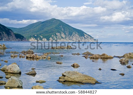 A landscape on sea. The stones and reefs in water, green cape, and cloudy sky.