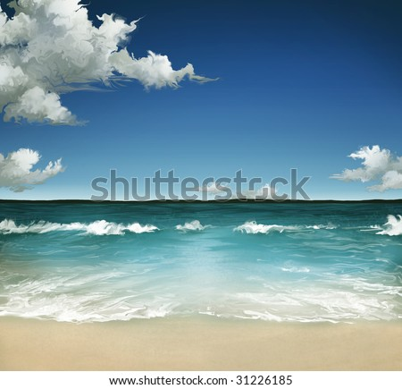 a landscape painting of a warm ocean in the Summer with a cloudy sky over waves on a sandy beach - stock photo