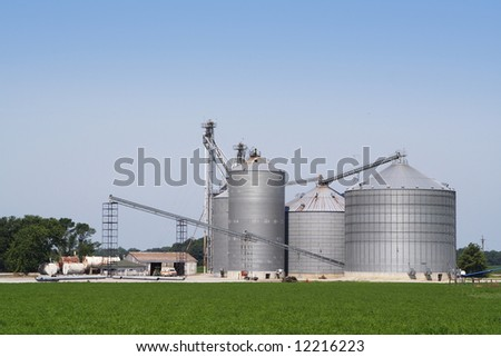 A landscape shot of a grain elevator and bins
