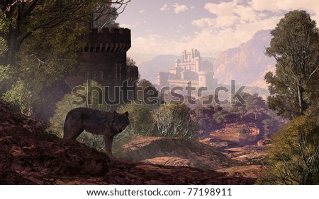 A landscape with a wolf coming out of the woods with a gothic castle off in the distance and in the foreground. - stock photo