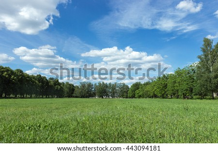 A landscape with blue sky and green grass - stock photo