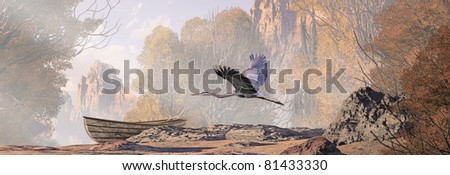 A landscape with lake, a weathered rowboat and a great blue heron in flight. - stock photo