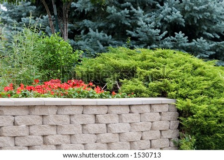 A landscaped brick wall accented with evergeen juniper and blue spruce showing design possibilities for contractors and homeowners. - stock photo