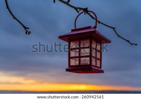 A lantern hanging on a branch in the sunset - stock photo