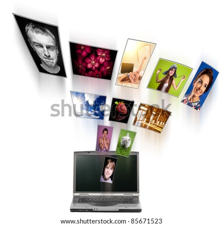 A laptop and digital pictures flying. All photos can be found in my portfolio.
