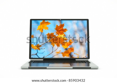 a laptop autumn background on screen - stock photo