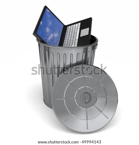 A laptop computer in the trash. Isolated on a white background - stock photo