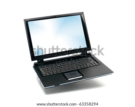 A laptop computer isolated against a white background