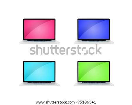A laptop computer on a work desk - stock photo
