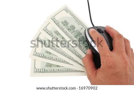 A laptop computer with mouse and five one hundred dollars notes - stock photo
