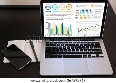 A laptop displaying business graphic charts. - stock photo