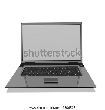 A laptop isolated on white with reflections on glass table. - stock photo