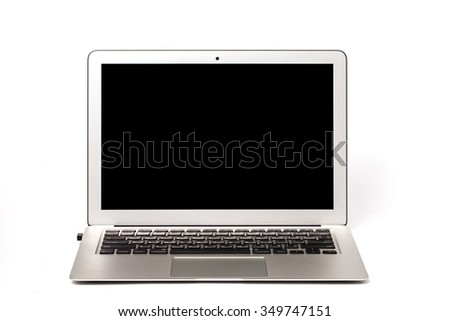 A laptop screen display with a popular design. Can be used with custom images. - stock photo