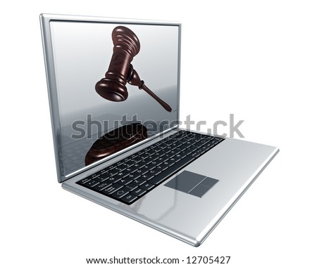 A laptop with a gavel on the screen representing Internet auctions - stock photo