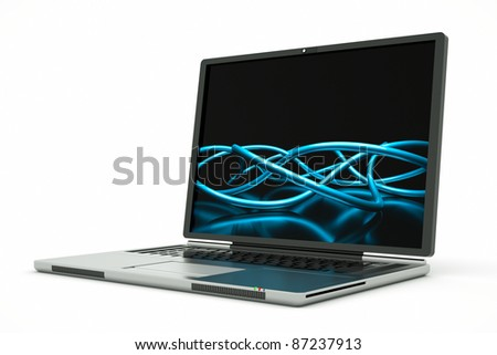 a laptop with abstract background on screen - stock photo