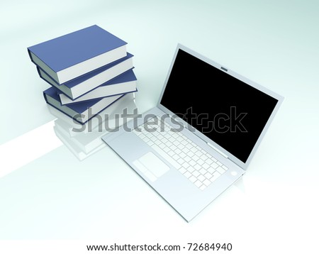 A Laptop with books. 3D rendered illustration. - stock photo