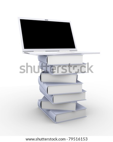 A Laptop with books. 3D rendered illustration. Isolated on white. - stock photo