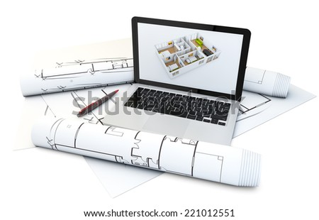 a laptop with house design software on the screen over plots and technical draws isolated on white background