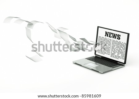 a laptop with open website for searching news and many search results - stock photo