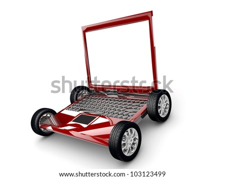 A Laptop with tyres isolated on a white background - stock photo