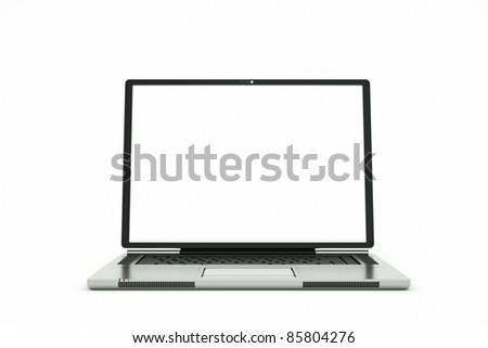 a laptop with white screen isolated on white, put your own picture inside - stock photo
