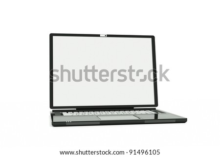 a laptop with white screen isolated on white, put your own picture inside