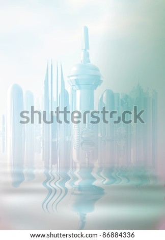 A large beautiful futuristic city in the mist, reflected in a water.
