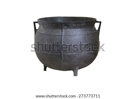A Large Black Iron Traditional Cooking Cauldron. - stock photo