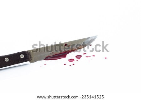 a large bloody knife, bloody theme, halloween theme - stock photo