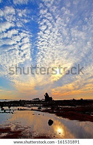 A large boulder reaches up to the cloudy sky that reflects on the puddle. - stock photo