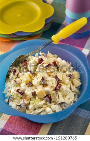 A large bright bowl of refreshing coleslaw made with apples, marshmallows and pineapple is ready for a summer picnic. - stock photo