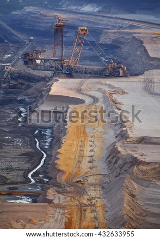 A large bucket wheel excavator in a lignite (brown-coal) mine during sunset, Germany - stock photo
