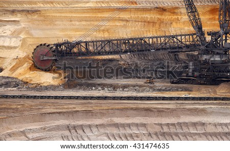 A large bucket wheel excavator in a lignite (brown-coal) mine, Germany - stock photo