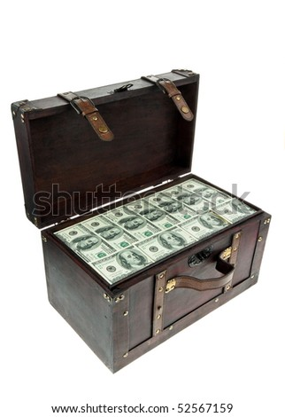 A large chest with dollar banknotes. Financial crisis, crisis, debt. - stock photo