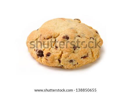A large chocolate chip cookie on a white background with a natural drop shadow
