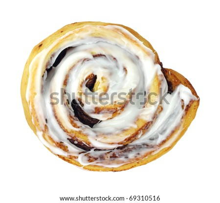A large cinnamon roll on a white background. - stock photo