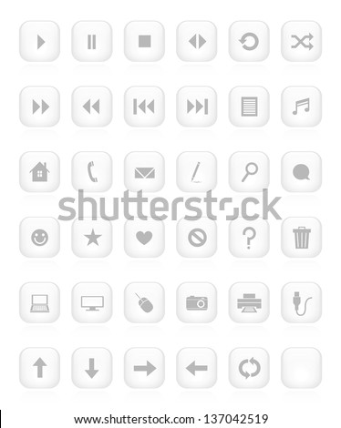 A large collection of 38 beveled minimalistic buttons. Raster. - stock photo