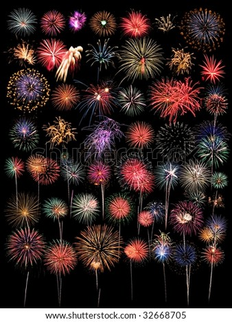 A large Collection of 48 Fireworks Isolated on Black - stock photo