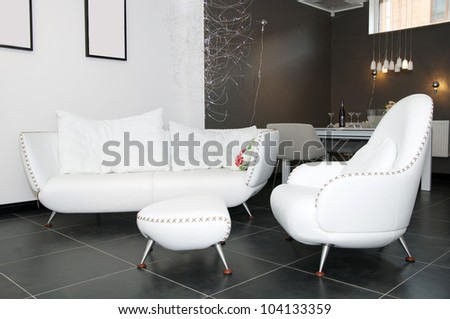 a large comfortable lounge, a white - stock photo