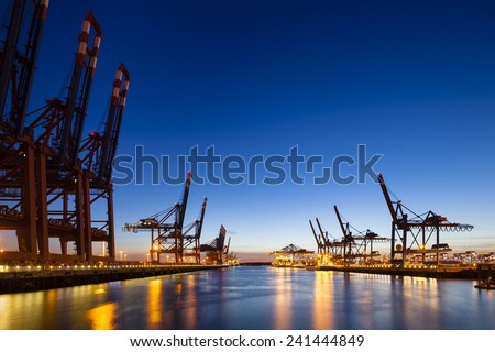 A large container harbor with deep blue night sky, taken with a shift lens