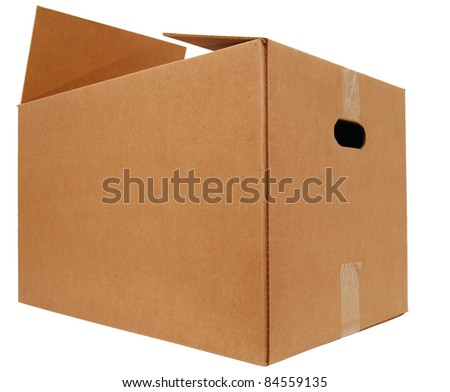 A large corrugated brown box - stock photo