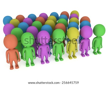 A large crowd of different colored people stand on white. Isolated 3d render. Teamwork, business, all kind concept. - stock photo