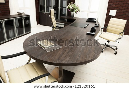 a large desk - stock photo