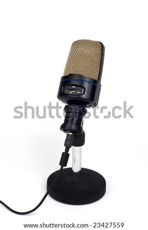 a large-diaphragm microphone on a stand with cable - stock photo