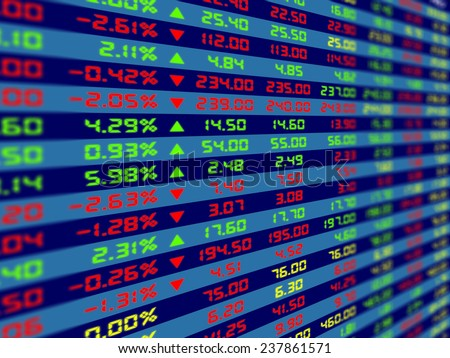 a large display of daily stock market price and quotation - stock photo